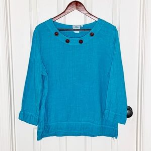 Hot Cotton Turquoise Tunic Button Accents Sz XL